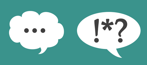 Two conversation bubbles - one with three dots like talking, one with questionmark, confused